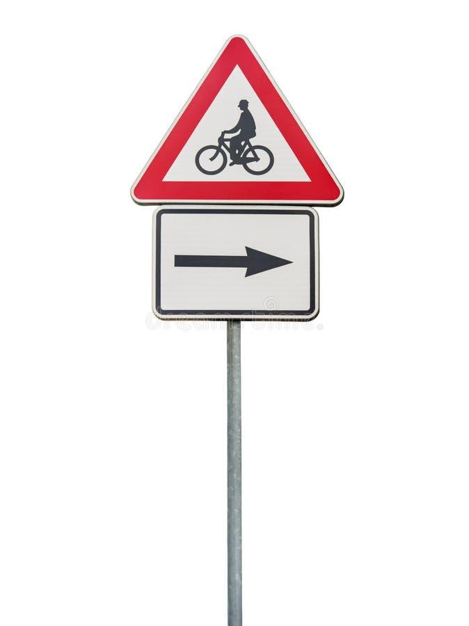 Verkeersteken voor juiste pijl en rood die het cirkelen teken op staaf wordt geïsoleerd stock afbeelding