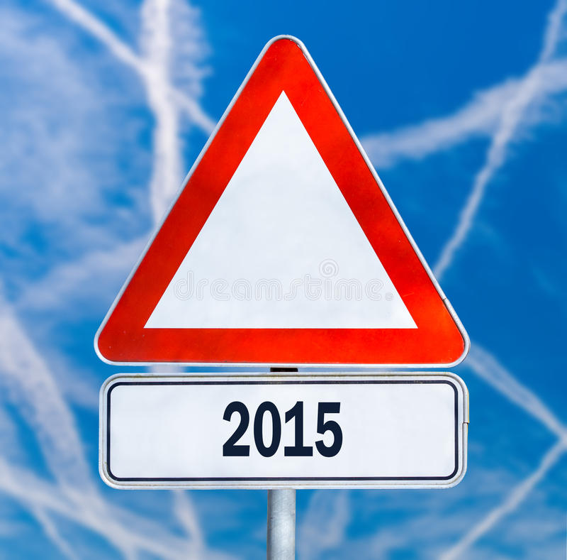 Verkeerswaarschuwingsbord met de datum 2015 royalty-vrije stock afbeeldingen