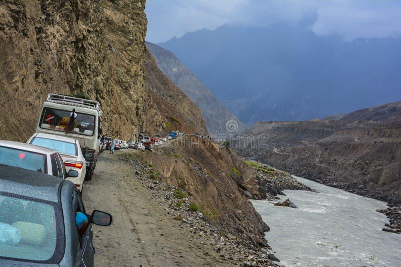 Verkehr blockierte auf dem Landweg schieben lizenzfreie stockbilder
