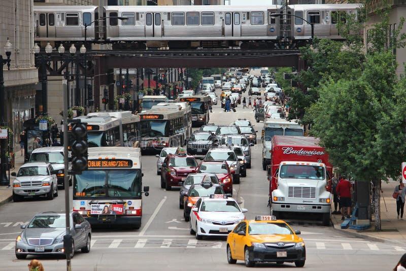 Verkehr in Chicago stockbild
