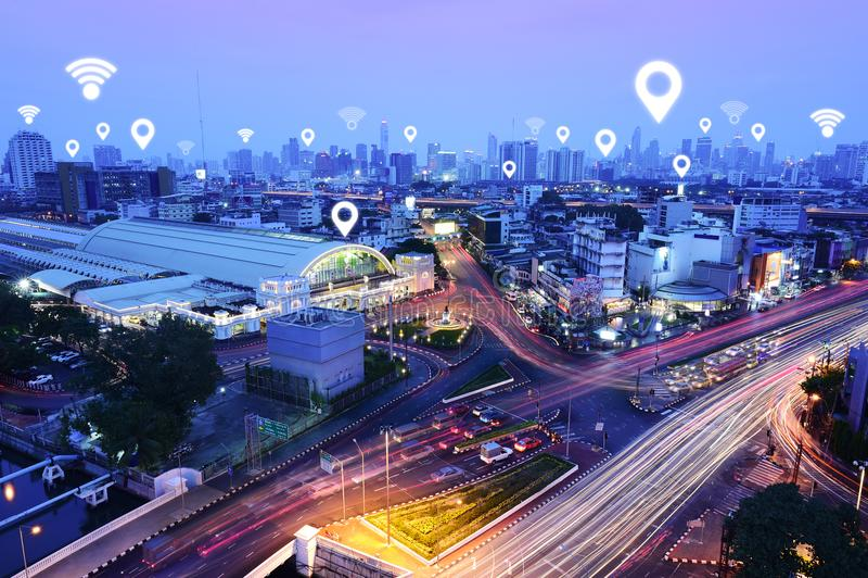 Verkehr, Fahrzeuge, drahtloses Kommunikationsnetz lizenzfreies stockbild