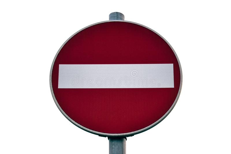 Verkehr wird, das Verkehrszeichen verboten, das auf weißem Hintergrund lokalisiert wird Rot- und Wei?endverkehrsschild stockbild