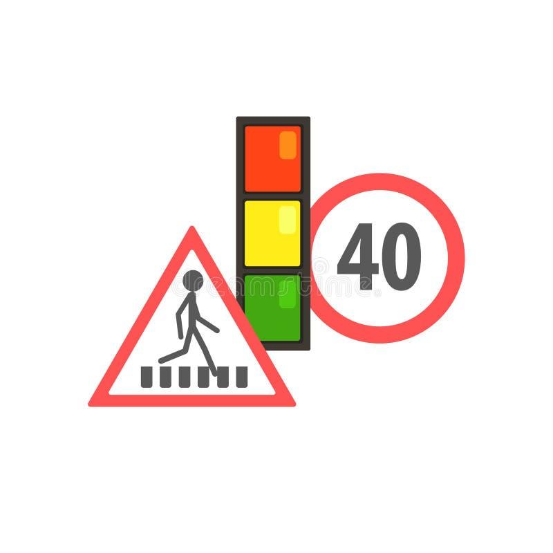 Verkehrs-Code, der Zeichen begrenzt vektor abbildung