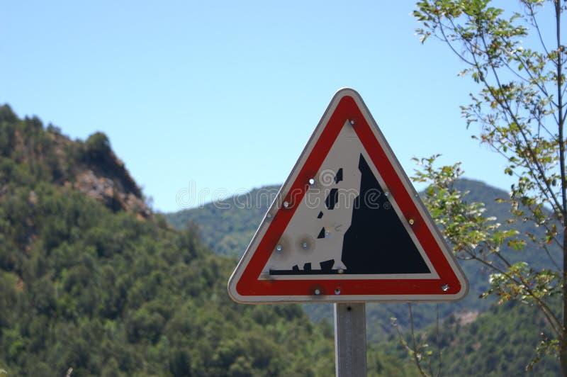 Verkehrs-Kennzeichnen Korsika-Frankreich lizenzfreies stockbild