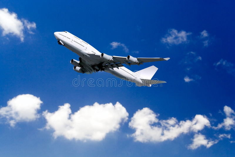 Verkehrsflugzeugstart stockbild