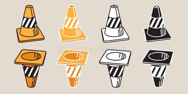 Verkehrskegelvektorikonenlogogekritzel-Karikaturillustration lizenzfreie abbildung