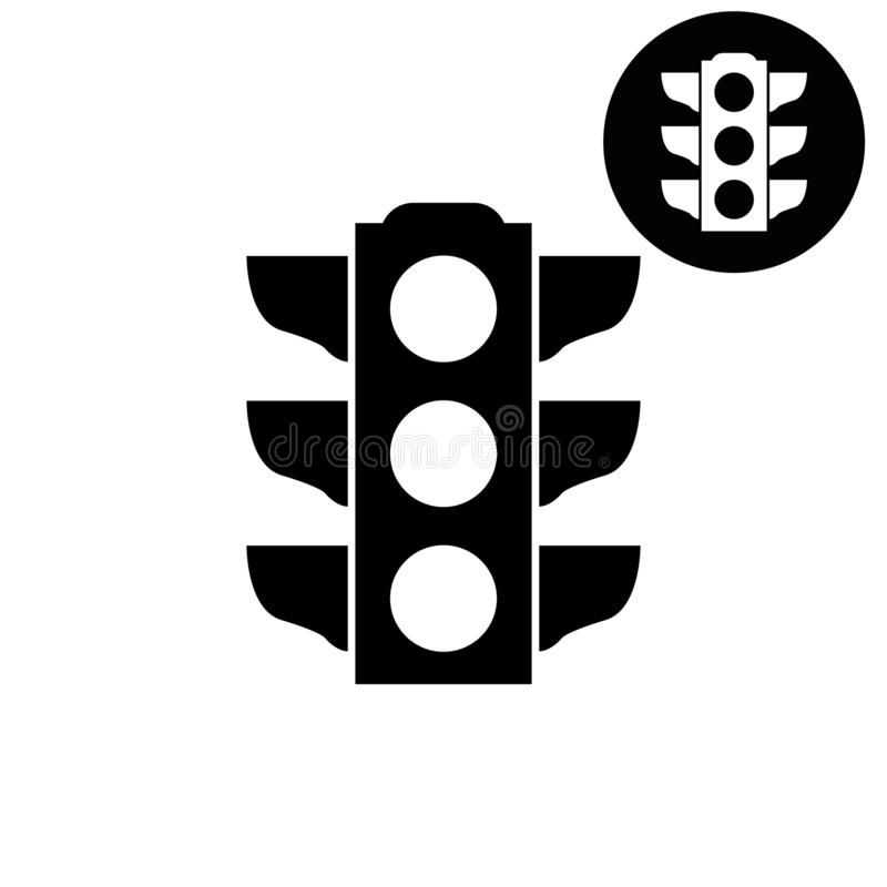 Verkehrslichtsignal - weiße Vektorikone vektor abbildung