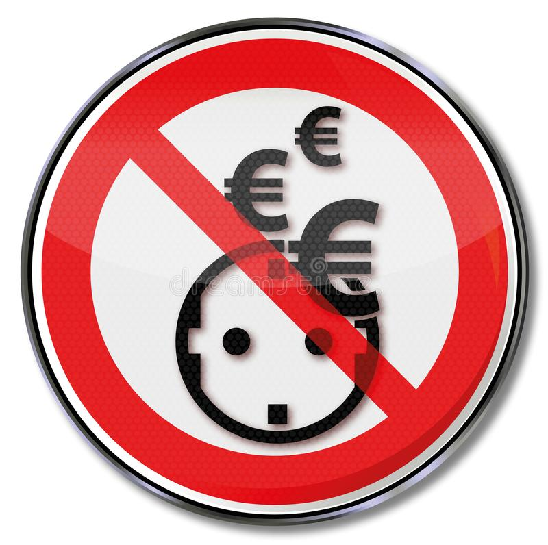 Euro, electricity, save power and energy systems stock illustration