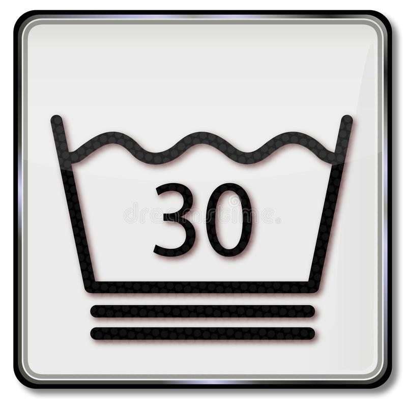 Textile care symbol wash up to 30 degree. Not more royalty free illustration