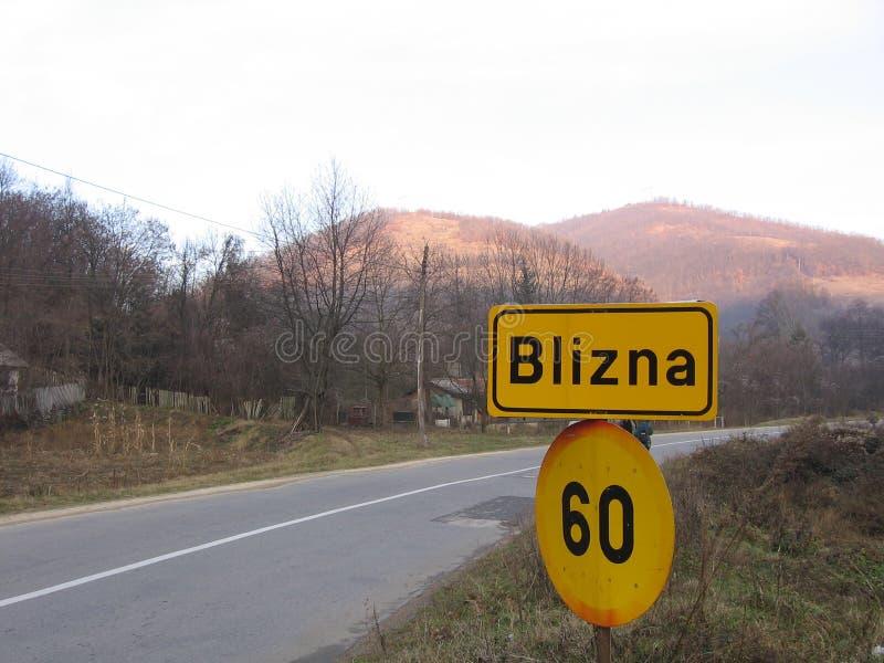 Verkehrsschild Blizna stockfoto