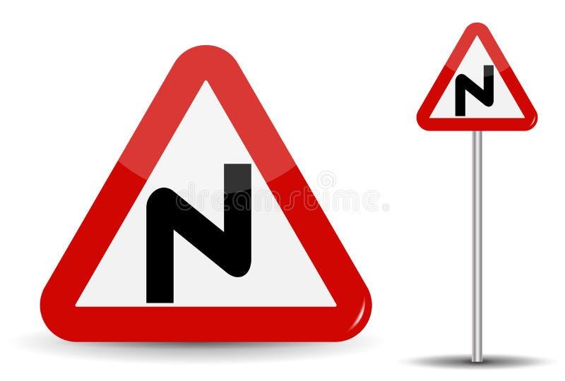 Verkehrsschild, das gefährliche Drehungen warnt Im roten Dreieck wird eine gekrümmte Linie schematisch dargestellt und bezeichnet lizenzfreie abbildung