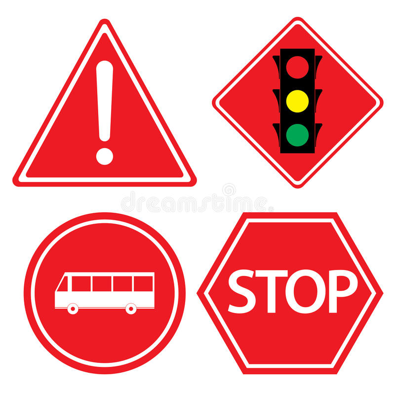 Verkehrsschild der Bushaltestelle, Gefahrenwarnung, rotes Verkehrszeichen auf weißem Hintergrund stock abbildung