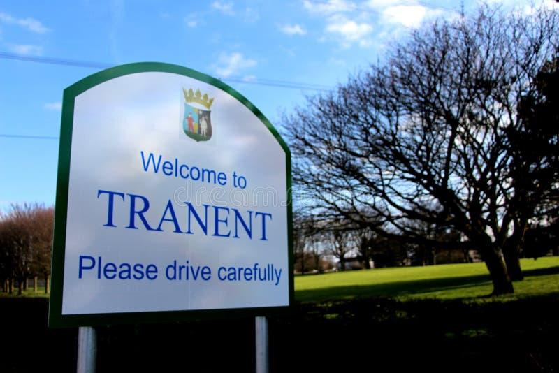 Verkehrsschild für Tranent, Ost-Lothian lizenzfreie stockfotografie