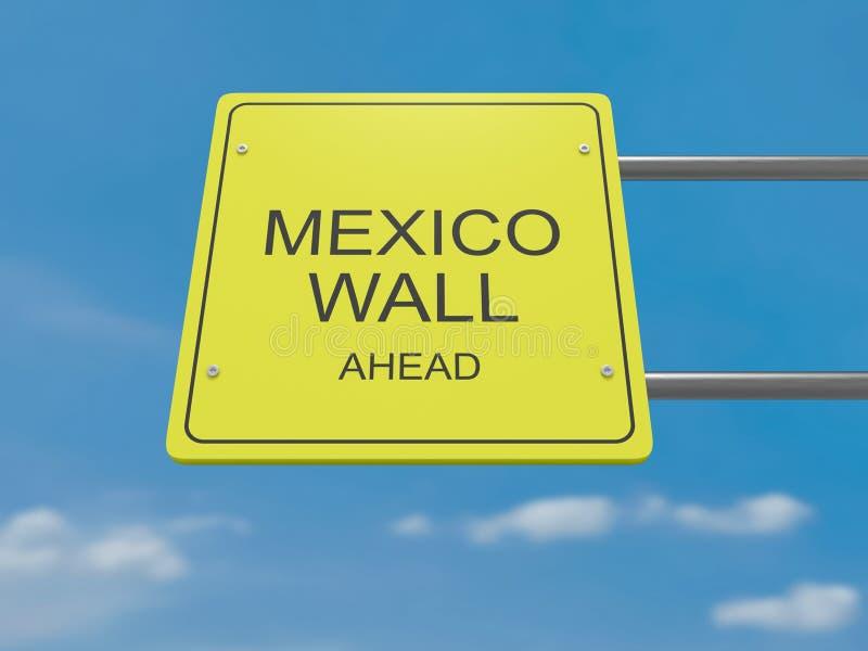 Verkehrsschild-Mexiko-Wand voran, Illustration 3d lizenzfreie abbildung