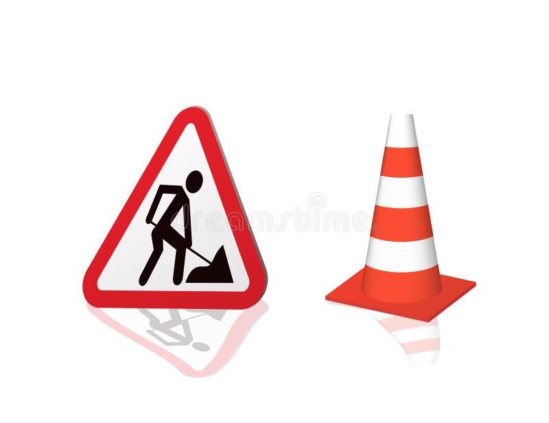 Verkehrsschild-Straßenreparatur und Landstraßenkegel stock abbildung