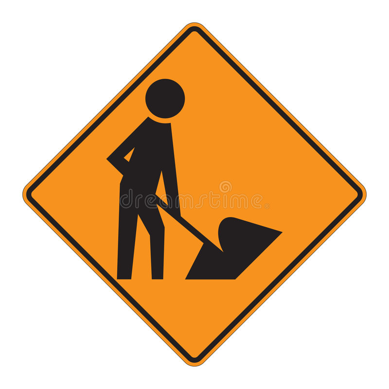 Verkehrsschild-WARNING - Arbeitskräfte lizenzfreie abbildung
