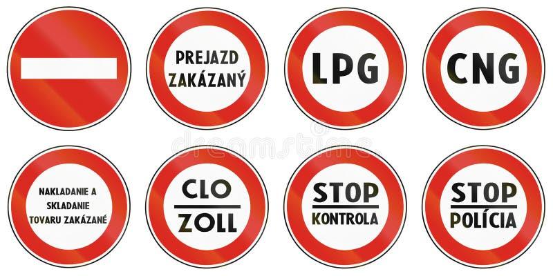 Verkehrsschilder benutzt in Slowakei lizenzfreie abbildung