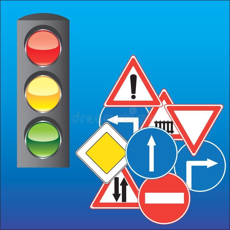 Verkehrsschilder und Ampel lizenzfreie abbildung