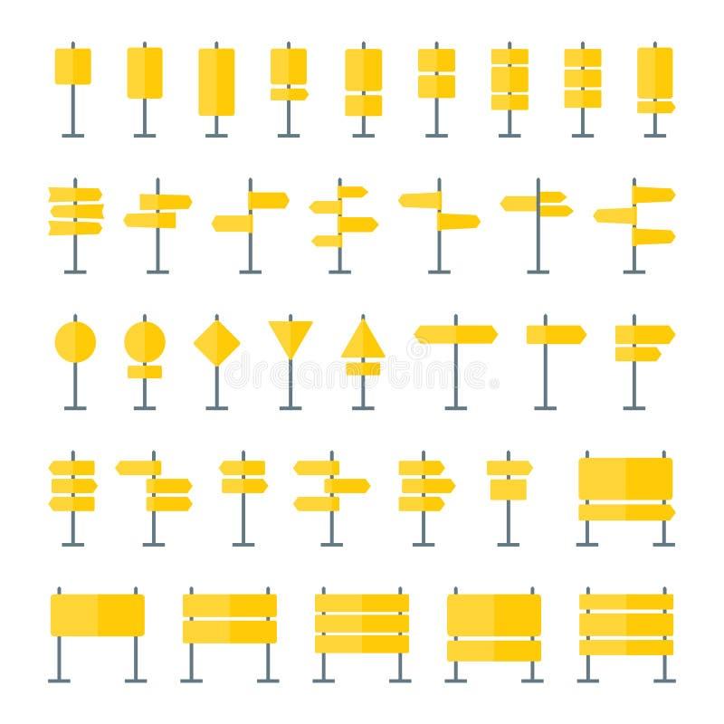 Verkehrsschilder und Zeiger-flache Ikonen eingestellt vektor abbildung