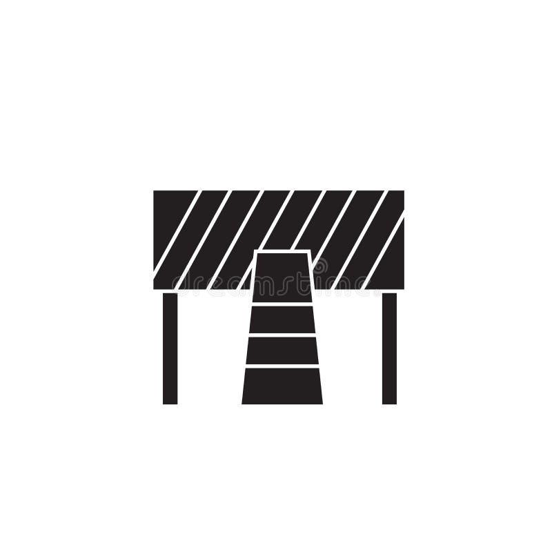Verkehrsstraße, Bausperrenschwarzvektor-Konzeptikone Verkehrsstraße, flache Illustration der Bausperre, Zeichen vektor abbildung