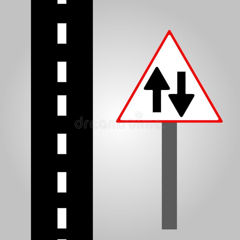 Verkehrszeichen - das gerade Zeichen und die Straße simulieren ENV 10 stockfotografie
