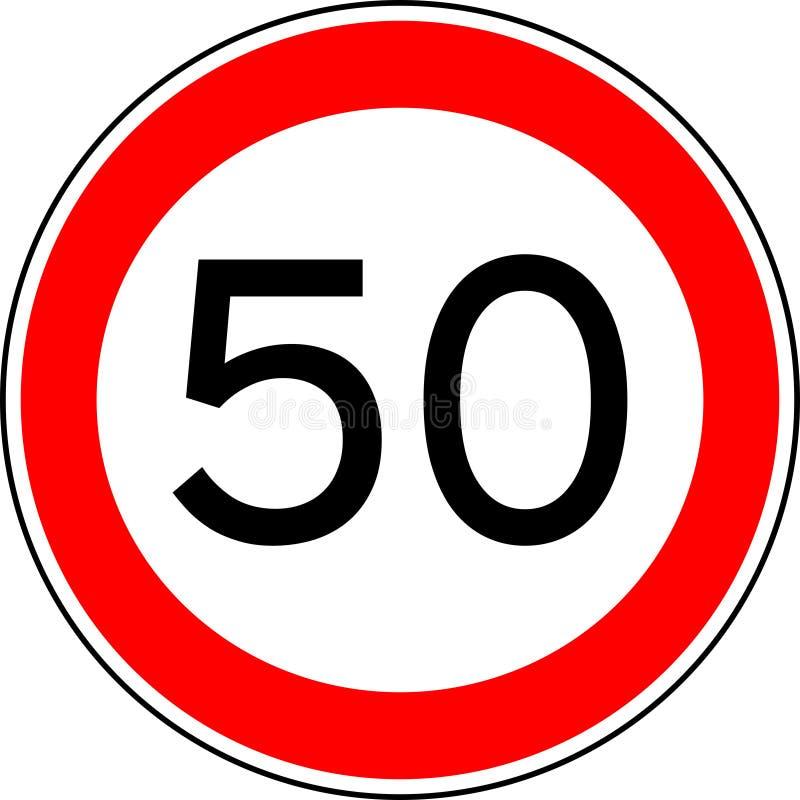Verkehrszeichen-Höchstgeschwindigkeit 50, Vektor 50 km/h lizenzfreie stockfotos