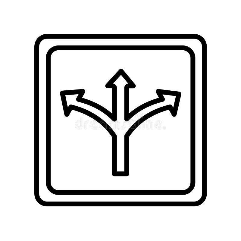 Verkehrszeichen-Ikonenvektorzeichen und -symbol lokalisiert auf weißem backg lizenzfreie abbildung