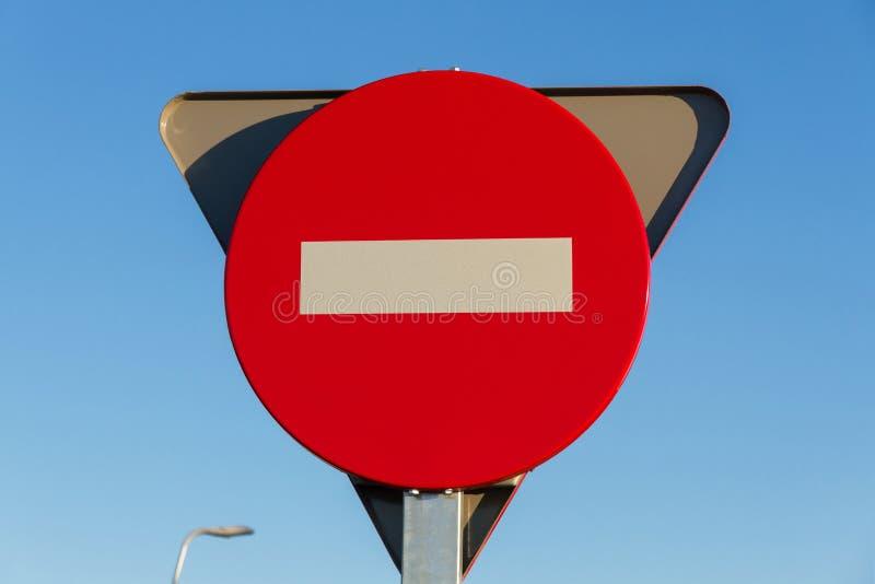 Verkehrszeichen, kein Eintritt stockfoto