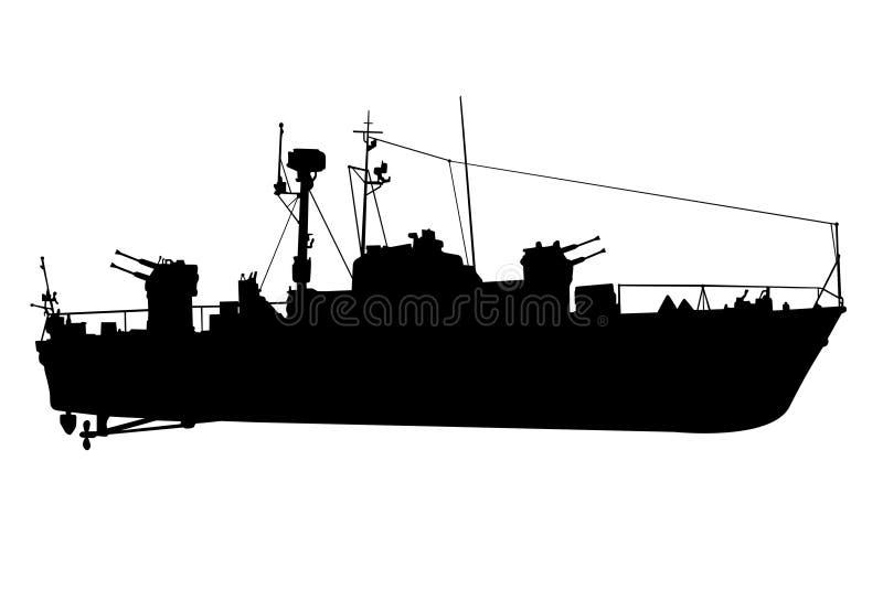 Verkenner-slagschip zwart silhouet stock illustratie