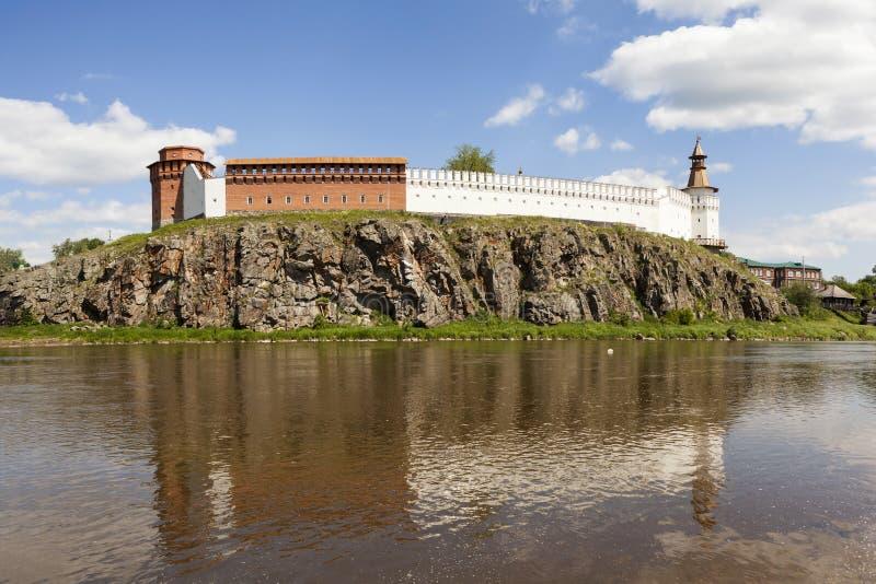 Verkhotursky Kremlin on the banks of the River Tura. Verkhoturye. Russia. royalty free stock photos