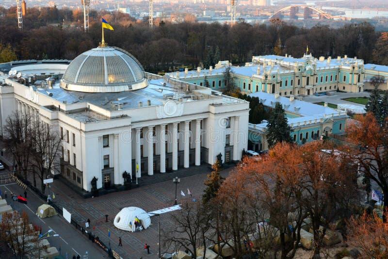 Verkhovnaen Rada, Kiev, Ukraina fotografering för bildbyråer