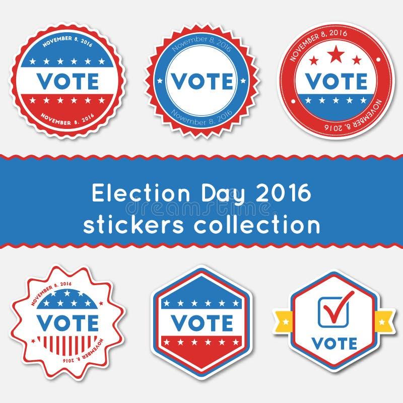Verkiezing Dag 2016 stickersinzameling vector illustratie