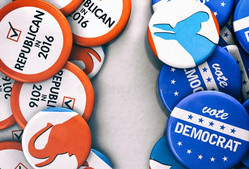 Verkiezing: Democraat versus Republikeinse Stemmingsknopen stock illustratie
