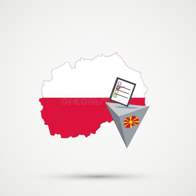 Verkiezing of referendum in Macedonië Stembus en beslissende stem op witte achtergrond De kaart van Macedonië in de vlaggen van P vector illustratie