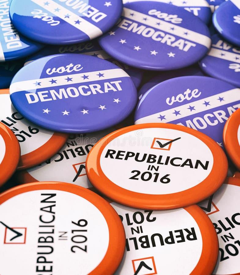 Verkiezing: Republikeinse Verus-Democraatknopen stock illustratie