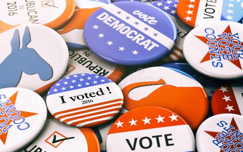 Verkiezing: Verscheidenheid van Presidentsverkiezingknopen stock illustratie