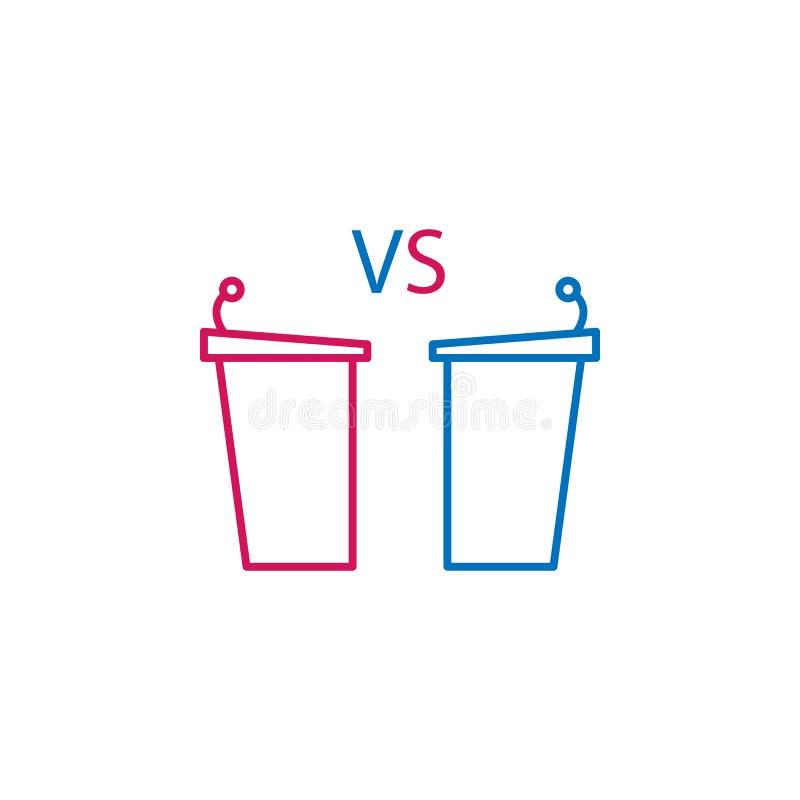 Verkiezingen, debat, tribunesoverzicht gekleurd pictogram Kan voor Web, embleem, mobiele toepassing, UI, UX worden gebruikt stock illustratie