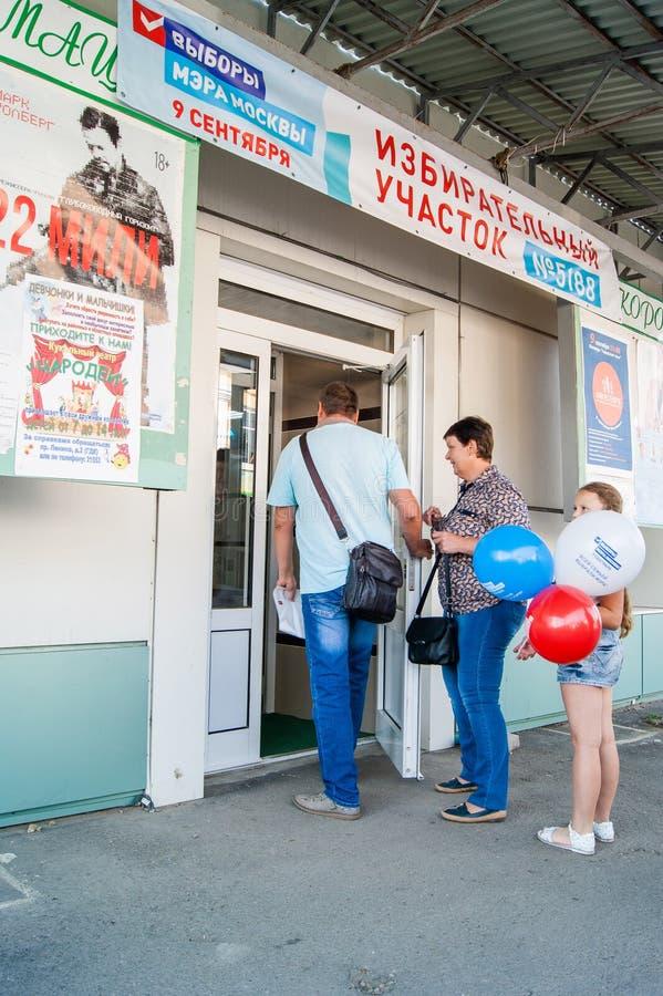 Verkiezingen van de burgemeester van Moskou in het Kaluga-gebied van Rusland op 9 September, 2018 stock foto