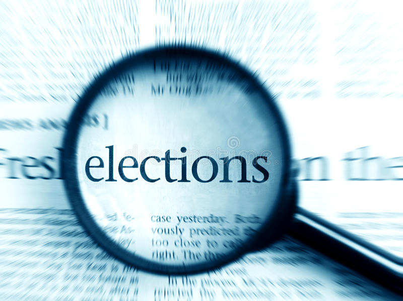 Verkiezingen - woord in nadruk stock afbeeldingen