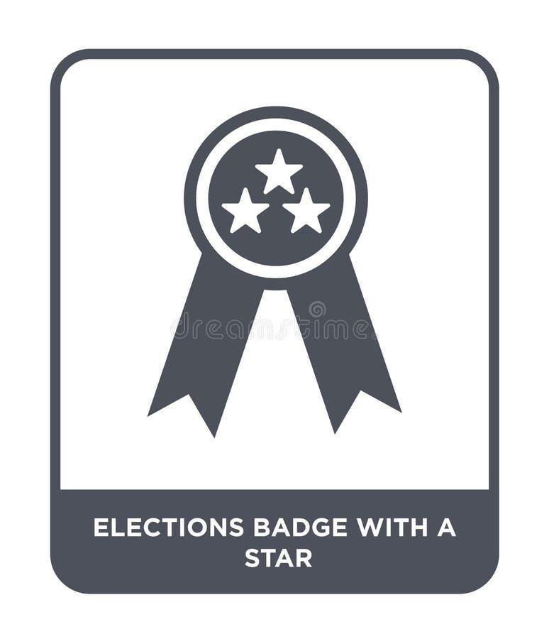 verkiezingenkenteken met een sterpictogram in in ontwerpstijl verkiezingenkenteken met een sterpictogram op witte achtergrond wor royalty-vrije illustratie