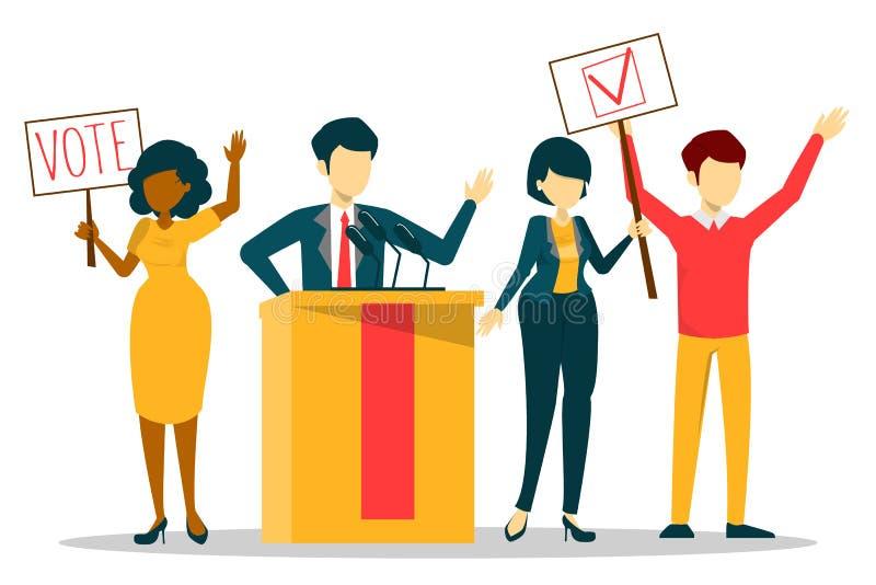 Verkiezingscampagne, stem voor kandidaat Spreker in kostuum vector illustratie