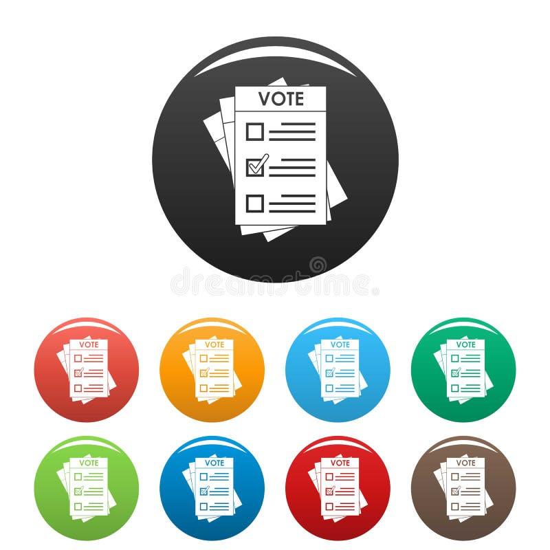 Verkiezingsdocument pictogrammen geplaatst kleur stock illustratie