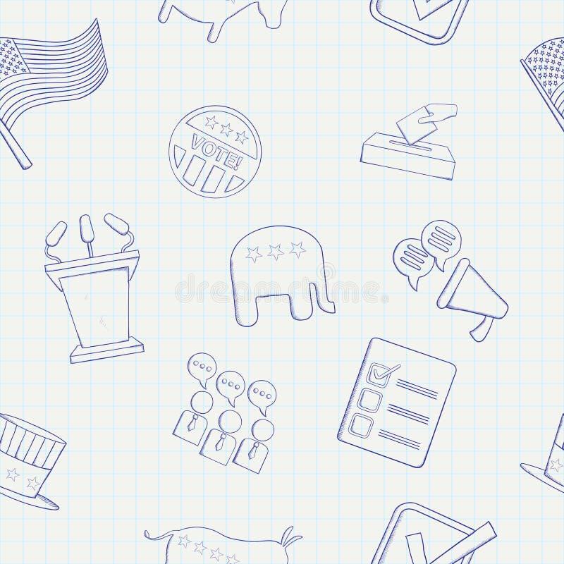 Verkiezingshand getrokken vector naadloos patroon stock illustratie