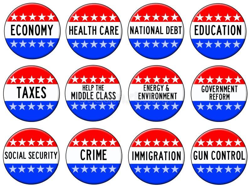 Verkiezingsonderwerpen royalty-vrije illustratie