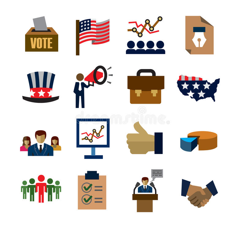 Verkiezingspictogrammen vector illustratie