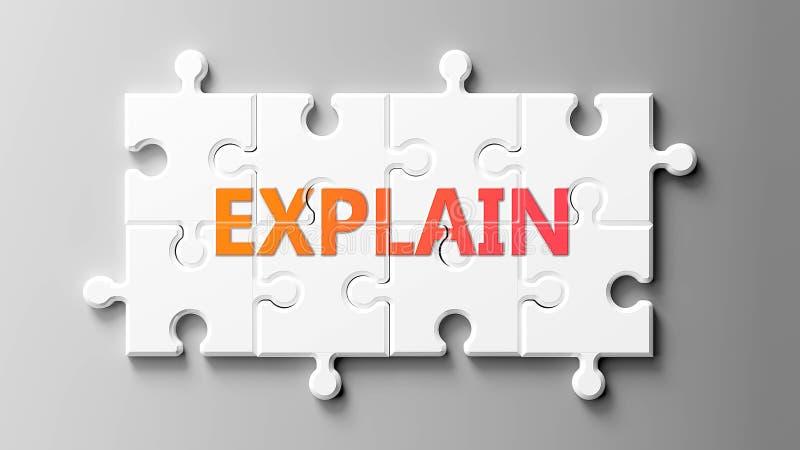 Verklaar complex als een puzzel - als woord Verklaar op een puzzelstukjes om te tonen dat de Verklaring moeilijk kan zijn en beho stock illustratie