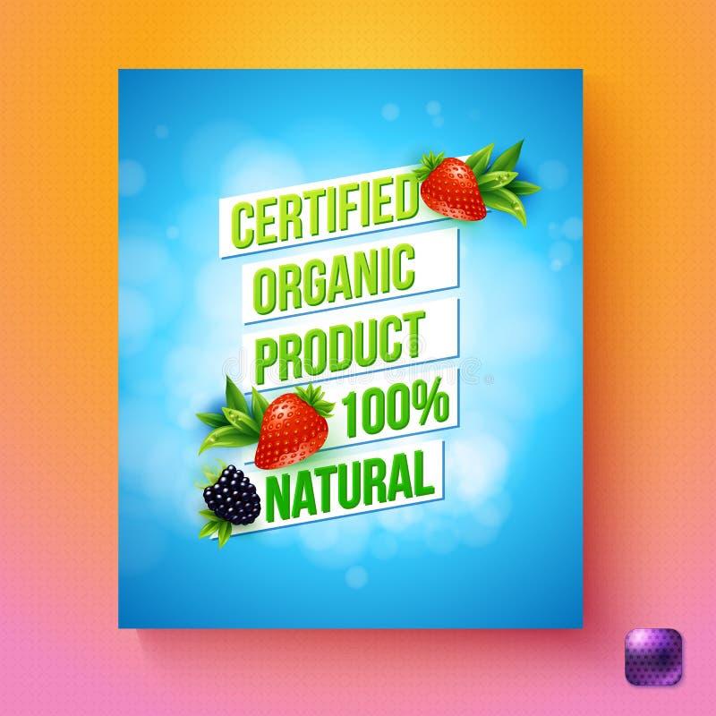 Verklaard biologisch product 100 percenten natuurlijke vectorkaart vector illustratie