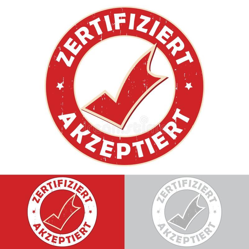 Verklaard: Duits - Zertifiziert/akzeptiert rubberzegel royalty-vrije illustratie