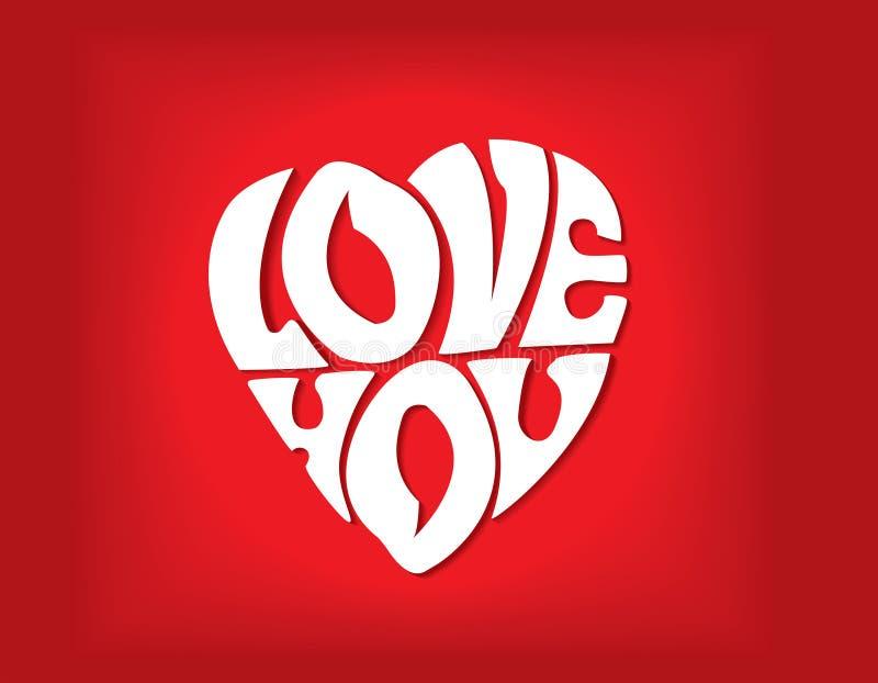 Verklaring van liefde in de vorm van hart royalty-vrije illustratie