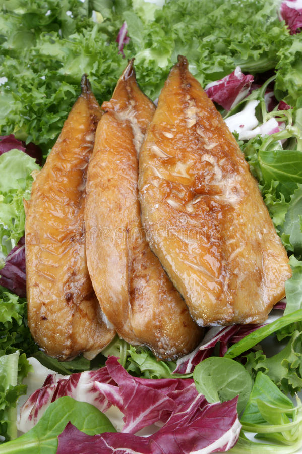 Verkleidungen der geräucherten Makrele auf frischem Kopfsalat lizenzfreie stockfotos